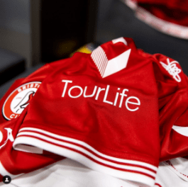 TourLife branding on top of Bristol City shirt